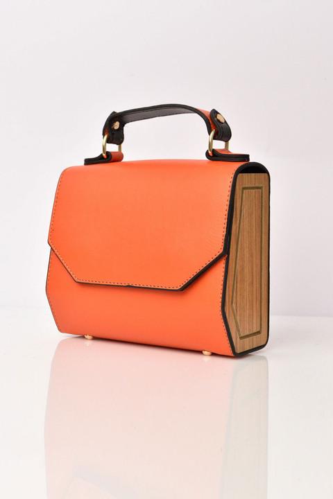 Τσάντα με ξύλινα πλαϊνά - Πορτοκαλί