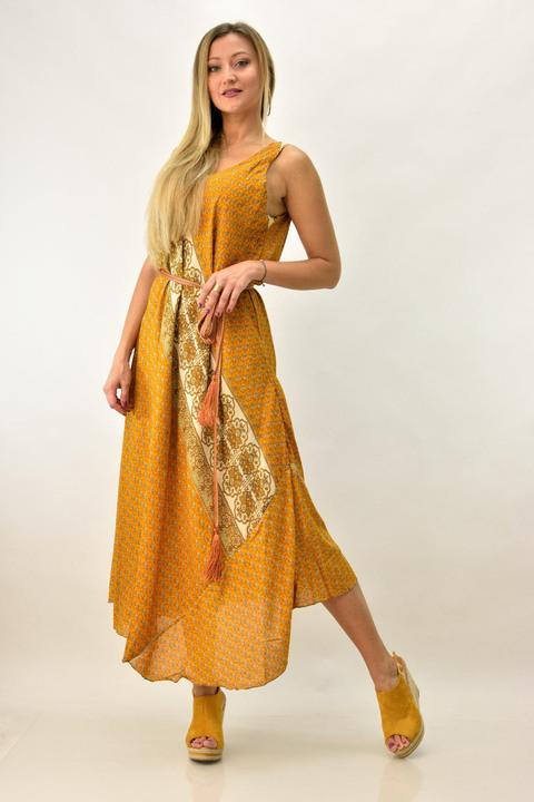 Γυναικείο μεταξωτό boho φόρεμα με τιράντα και V - Μουσταρδί