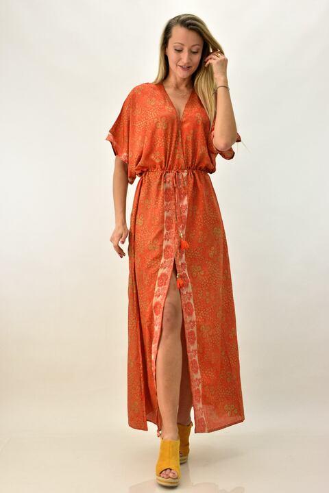 Γυναικείο μπόχο κρουαζέ φόρεμα - Πορτοκαλί
