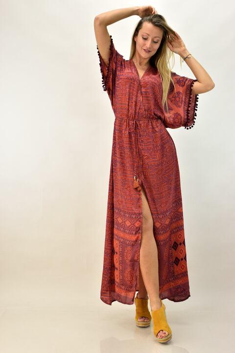 Γυναικείο μπόχο κρουαζέ φόρεμα - Μπορντώ