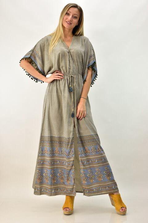 Γυναικείο μπόχο κρουαζέ φόρεμα - Γκρι