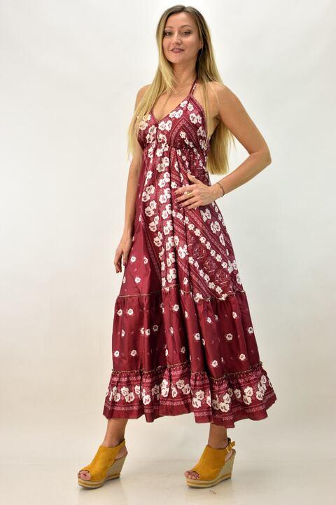 Εξώπλατο φόρεμα boho μεταξωτό - Μπορντώ