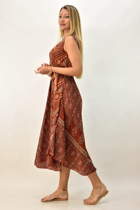 Γυναικείο μεταξωτό έθνικ φόρεμα με γιακά - Κεραμιδί