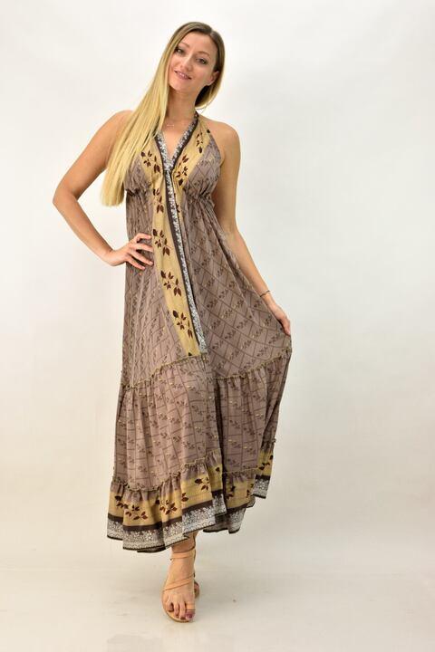 Εξώπλατο φόρεμα boho μεταξωτό - Εκρού
