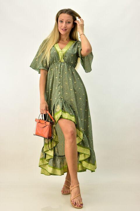 Γυναικείο μεταξωτό φόρεμα boho με βολάν - Πράσινο