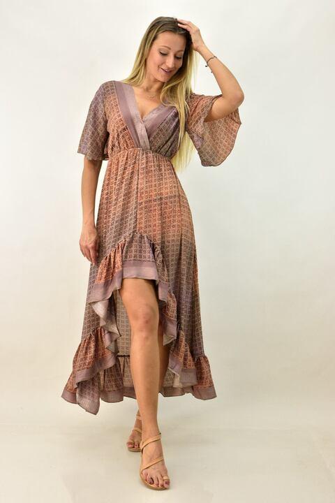 Γυναικείο μεταξωτό φόρεμα boho με βολάν - Καφέ