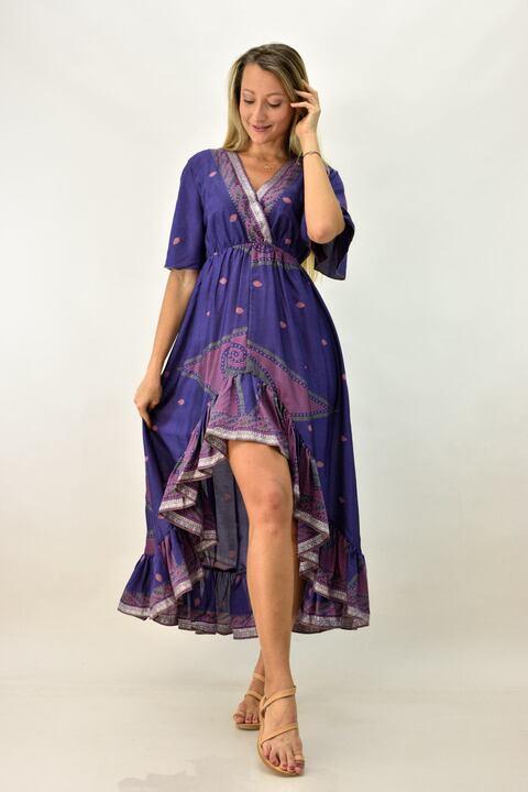 Γυναικείο μεταξωτό φόρεμα boho με βολάν - Μωβ