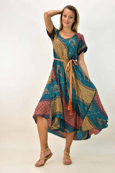 Γυναικείο μεταξωτό φόρεμα boho με βολάν - Μπλε