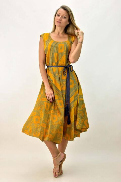 Γυναικείο μεταξωτό φόρεμα boho με βολάν - Κίτρινο