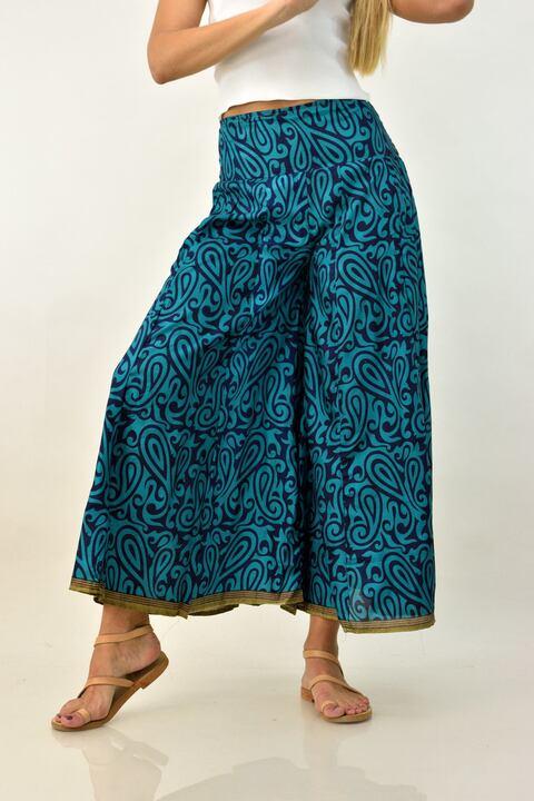 Μεταξωτή μπόχο παντελόνα - Μπλε