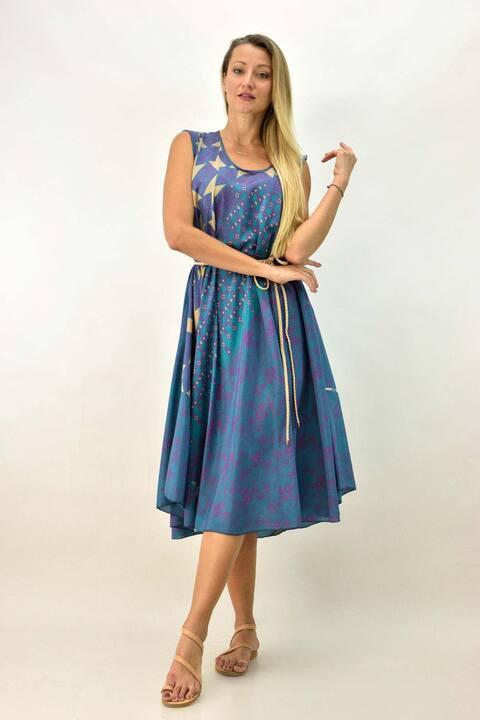 Γυναικείο boho μεταξωτό φόρεμα αμάνικο - Γαλάζιο
