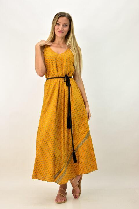 Γυναικείο μεταξωτό φόρεμα με V - Μουσταρδί