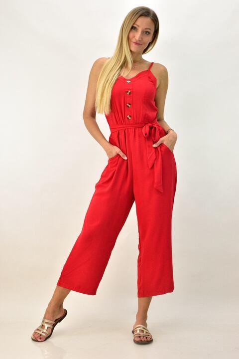 Ολόσωμη φόρμα με ζώνη - Κόκκινο