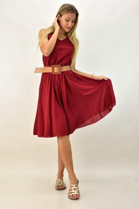 Γυναικείο φόρεμα  τύπου λινό με V λαιμόκοψη - Μπορντώ