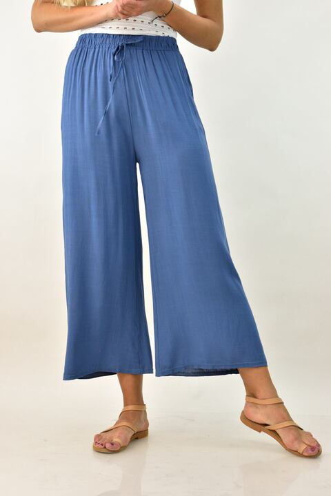 Λινή παντελόνα ζιπ κιλότ - Μπλε Τζιν