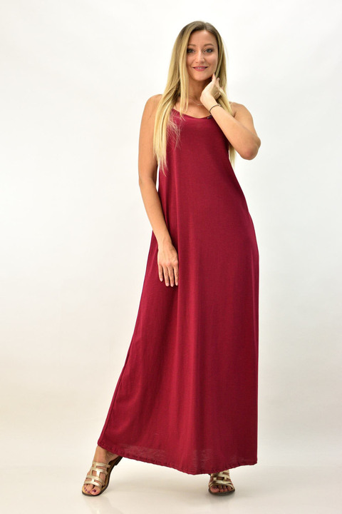 Μακρύ φόρεμα με μεγάλο άνοιγμα πλάτης - Μπορντώ