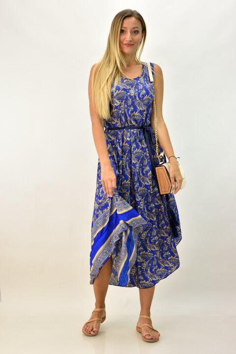 Γυναικείο boho φόρεμα αμάνικο - Μπλε