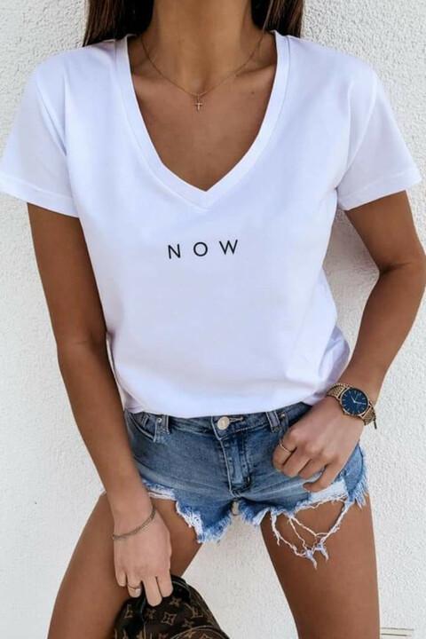 T-shirt με τύπωμα now - Λευκό