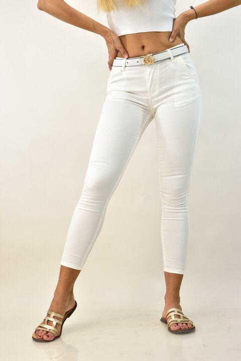 Γυναικείο τζιν παντελόνι - Λευκό