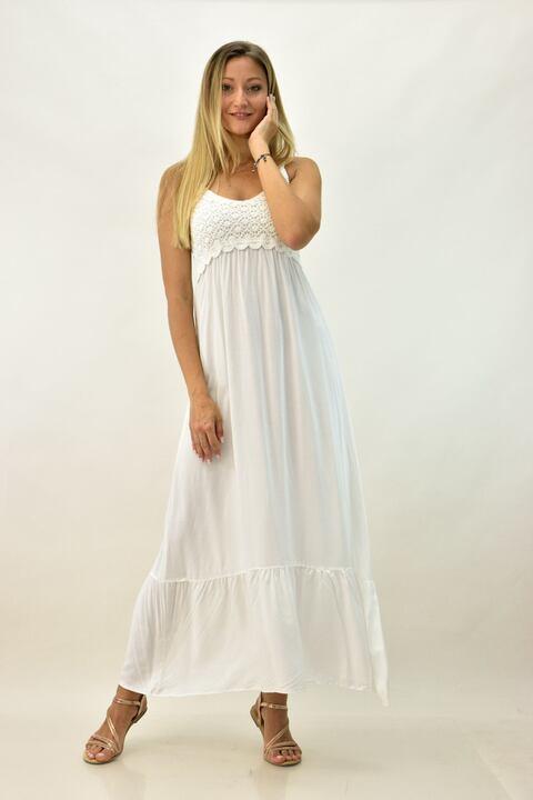 Γυναικείο φόρεμα με πλεκτό μπούστο - Λευκό