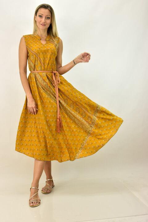 Γυναικείο μεταξωτό έθνικ φόρεμα με γιακά - Μουσταρδί