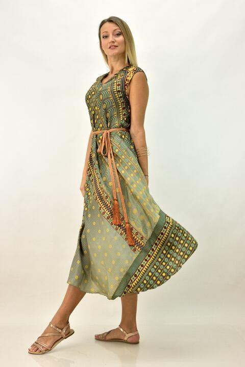 Γυναικείο μεταξωτό έθνικ φόρεμα με γιακά - Πράσινο