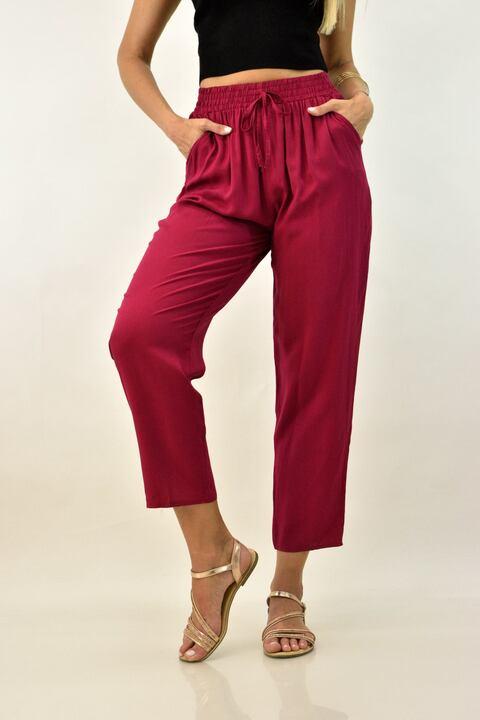 Γυναικεία παντελόνα με λάστιχο - Μπορντώ