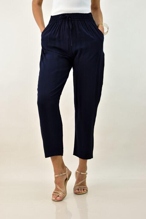 Γυναικεία παντελόνα με λάστιχο - Μπλε Σκούρο