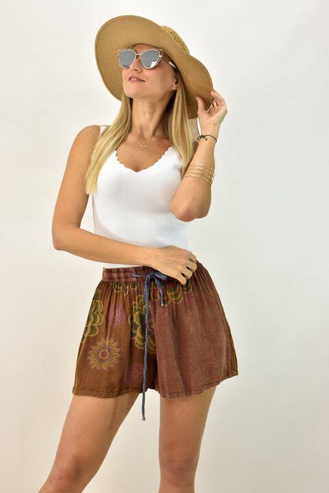 Γυναικέιο σορτσάκι boho - Καφέ