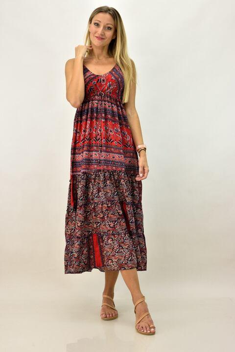 Γυναικείο φόρεμα μακρύ εμπριμέ - Κόκκινο
