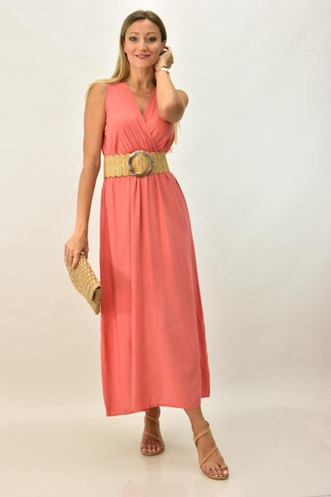 Γυναικείο φόρεμα μάξι κρουαζέ - Κοραλί