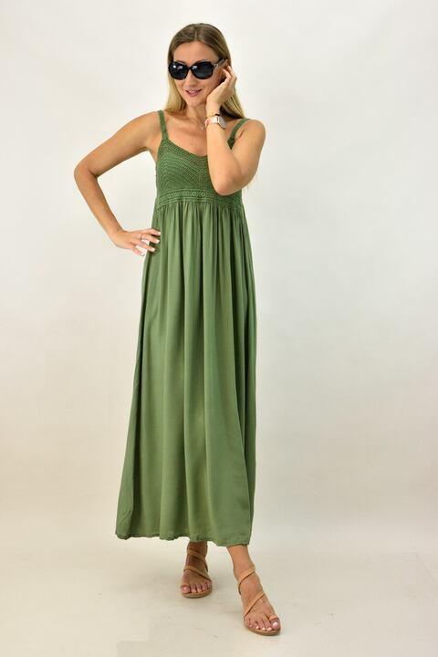 Γυναικείο φόρεμα με πλεκτό μπούστο - Χακί