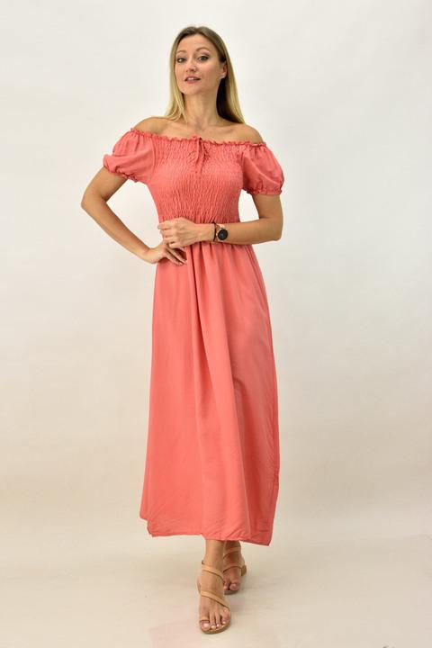 Γυναικείο φόρεμα μάξι με σφηκοφωλιά - Κοραλί