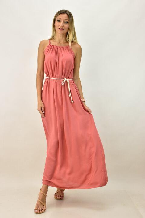 Γυναικείο φόρεμα με τιράντες και ζώνη - Κοραλί
