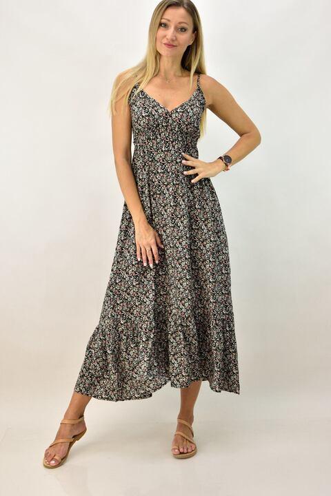 Γυναικείο φόρεμα φλοράλ - Μαύρο