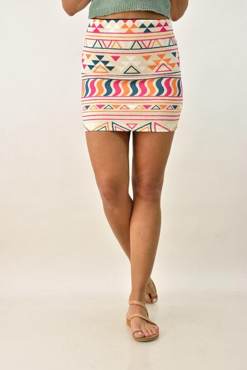 Μίνι φούστα με πολύχρωμα σχέδια - Μπεζ
