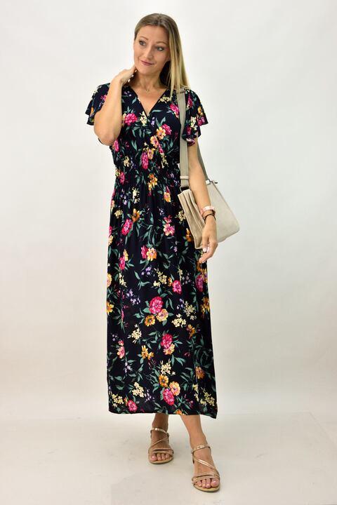 Γυναικείο φόρεμα φλοράλ  - Μπλε Σκούρο