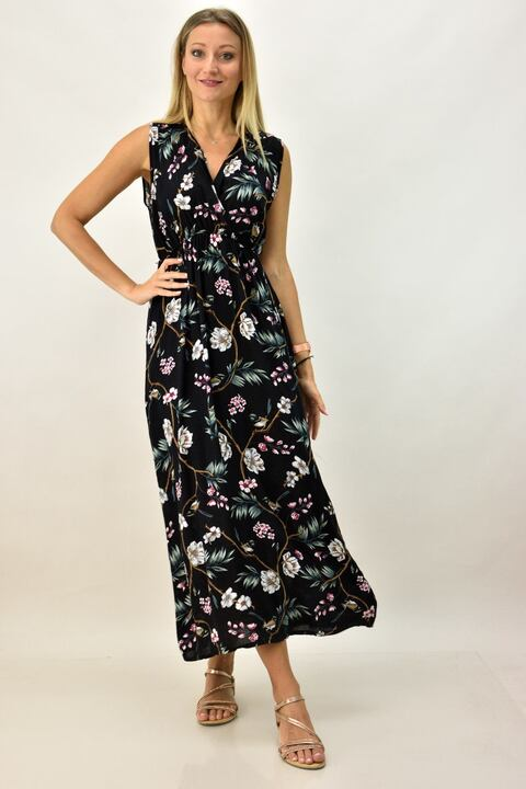 Γυναικείο φλοράλ φόρεμα - Μαύρο