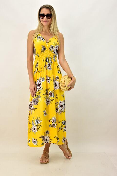 Γυναικείο φλοράλ φόρεμα - Κίτρινο