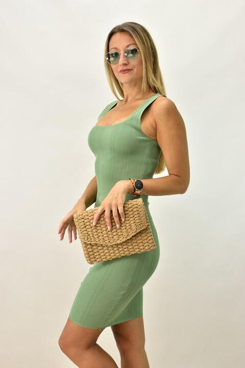 Γυναικείο εφαρμοστό φόρεμα - Πράσινο