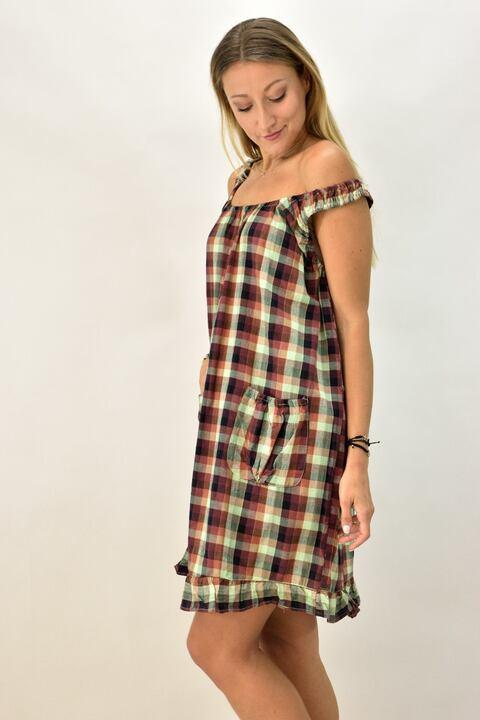 Γυναικείο φόρεμα καρό - Μπορντώ