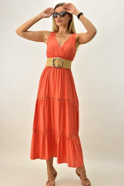 Γυναικείο φόρεμα μακρύ - Πορτοκαλί