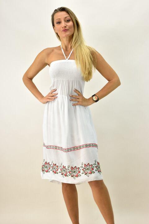 Γυναικείο φόρεμα στράπλες - Λευκό