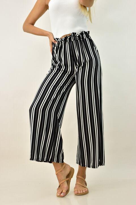 Γυναικεία παντελόνα ριγέ - Μαύρο