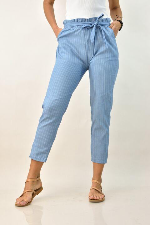 Γυναικέιο παντελόνι με ρίγα - Γαλάζιο