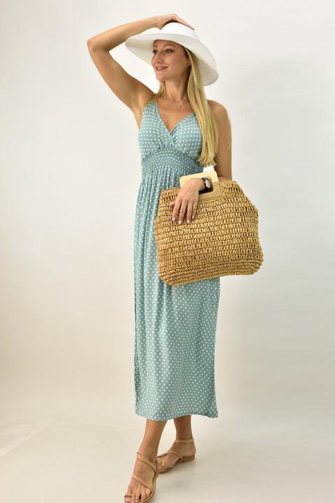 Γυναικείο φόρεμα μακρύ πουά - Βεραμάν