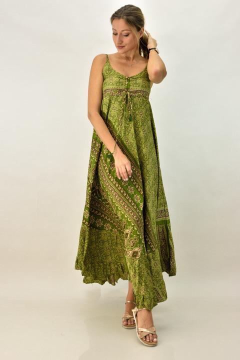 Γυναικείο boho φόρεμα με λεπτή τιράντα  - Λαχανί
