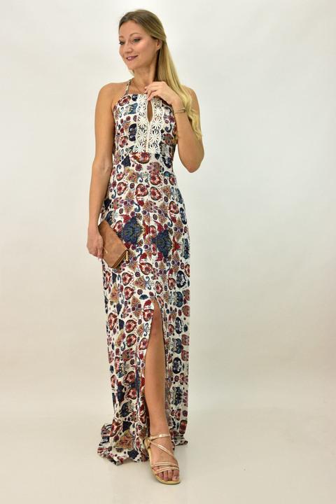 Γυναικείο φόρεμα μακρύ εμπριμέ - Μπεζ