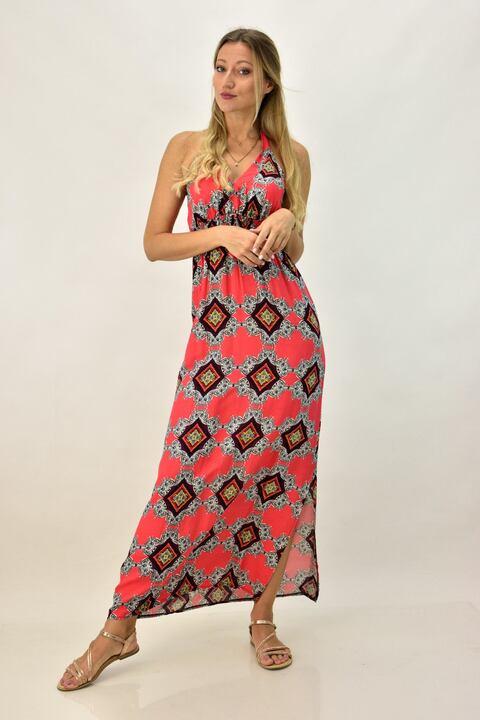 Εξώπλατο φόρεμα - Κοραλί