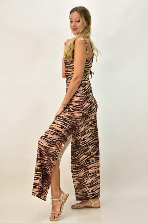 Γυναικείο φόρεμα animal print - Καφέ
